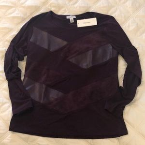 Calvin Klein eggplant faux suede & leather shirt